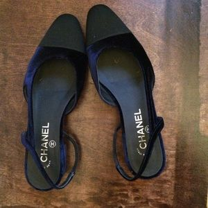 Chanel dark blue velvet CC slingbackS